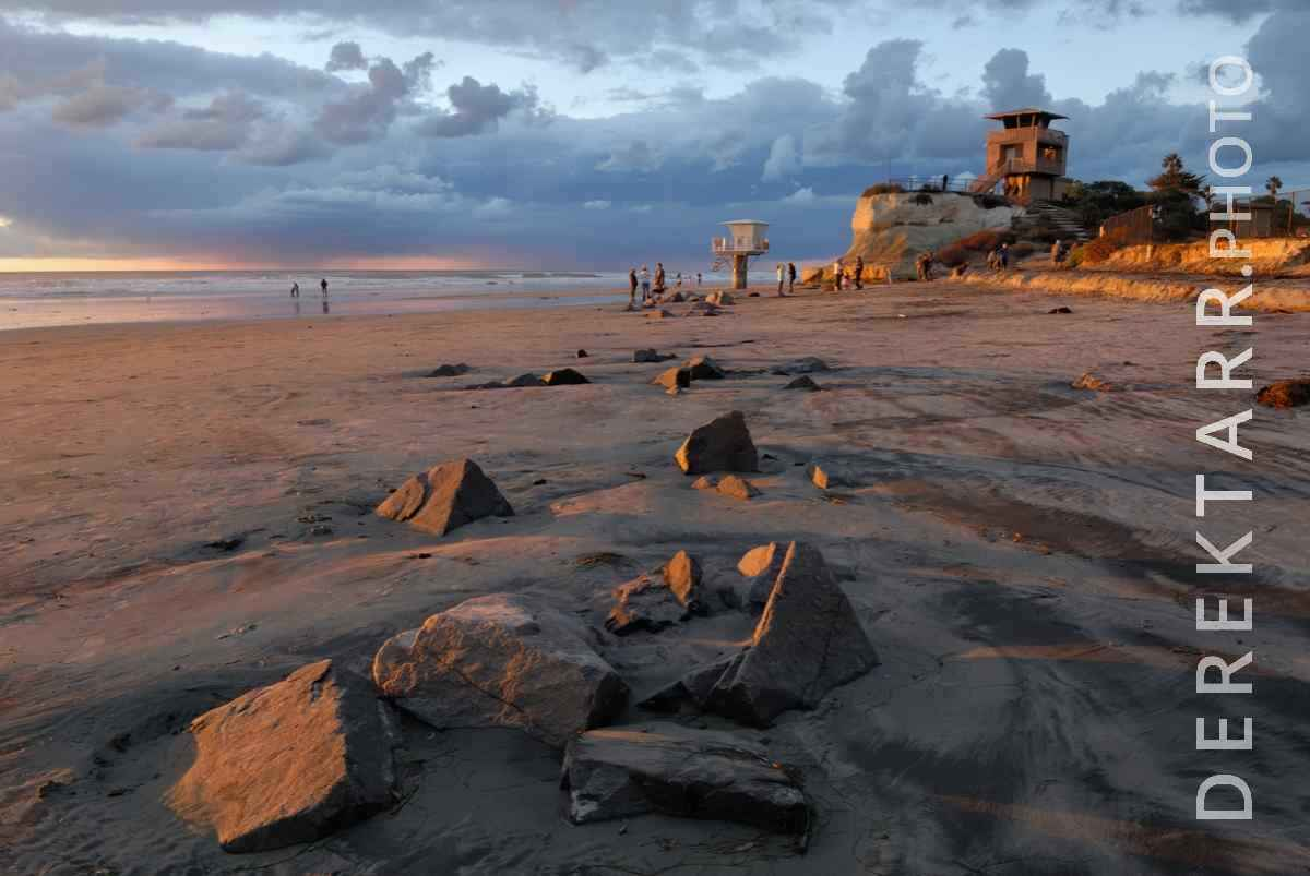 large view of photograph of Cardiff State Beach Sunset