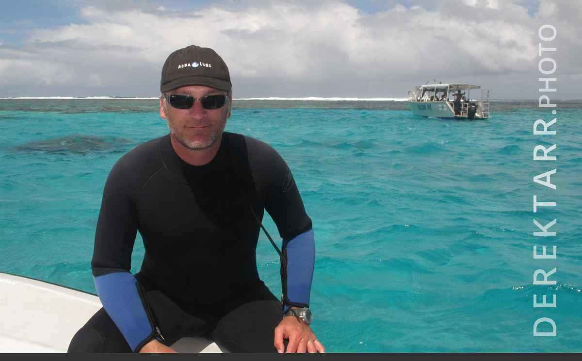 large view of Derek on the Dive Boat in Fiji