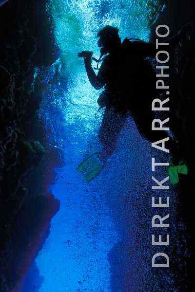 Scuba Diver Explores Leru Cut