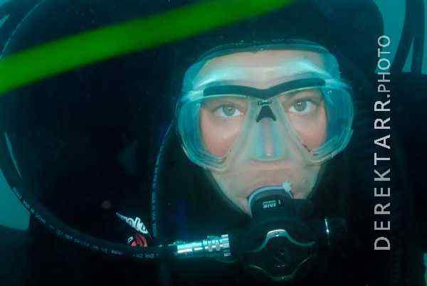 Portrait of a female scuba diver