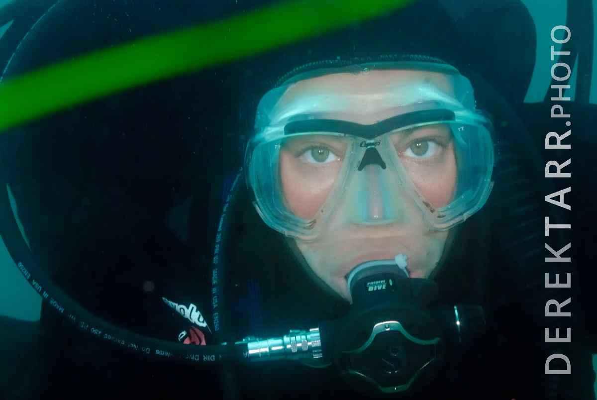 large view of Portrait of a female scuba diver