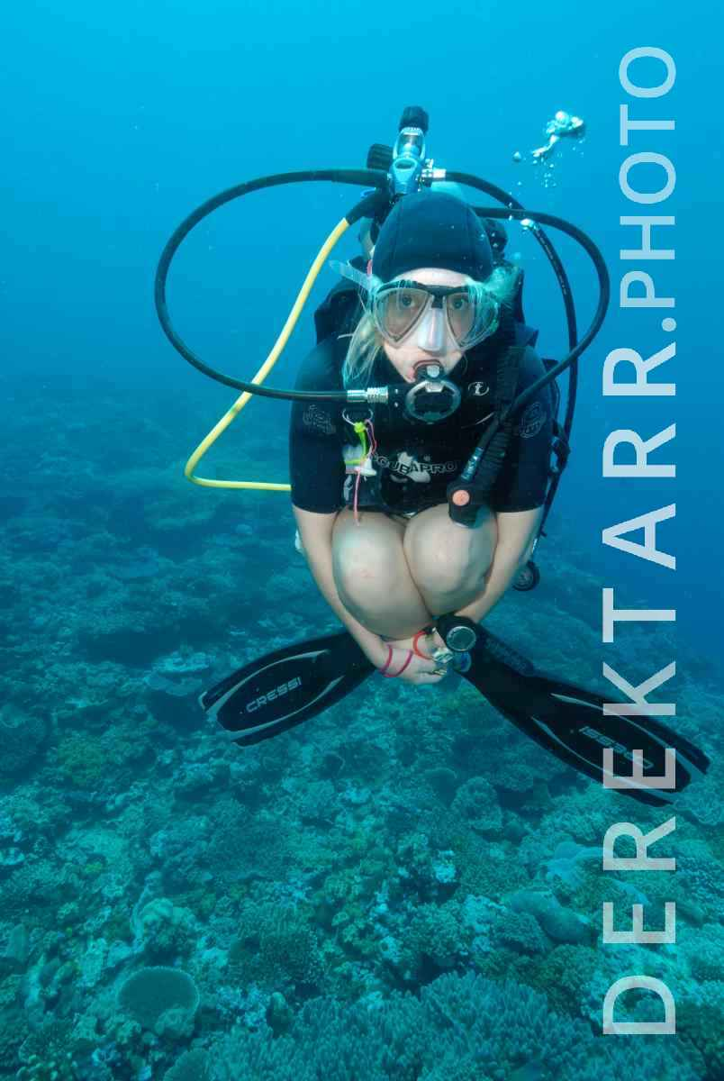 large view of Hovering Female Scuba Diver