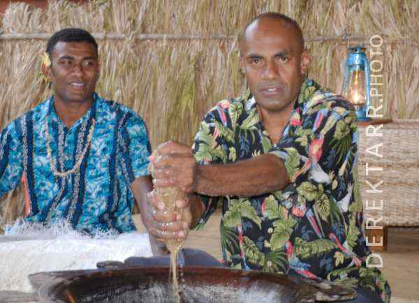 Fijian Men Preparing Kava for Lovo Ceremony at Matava Resort