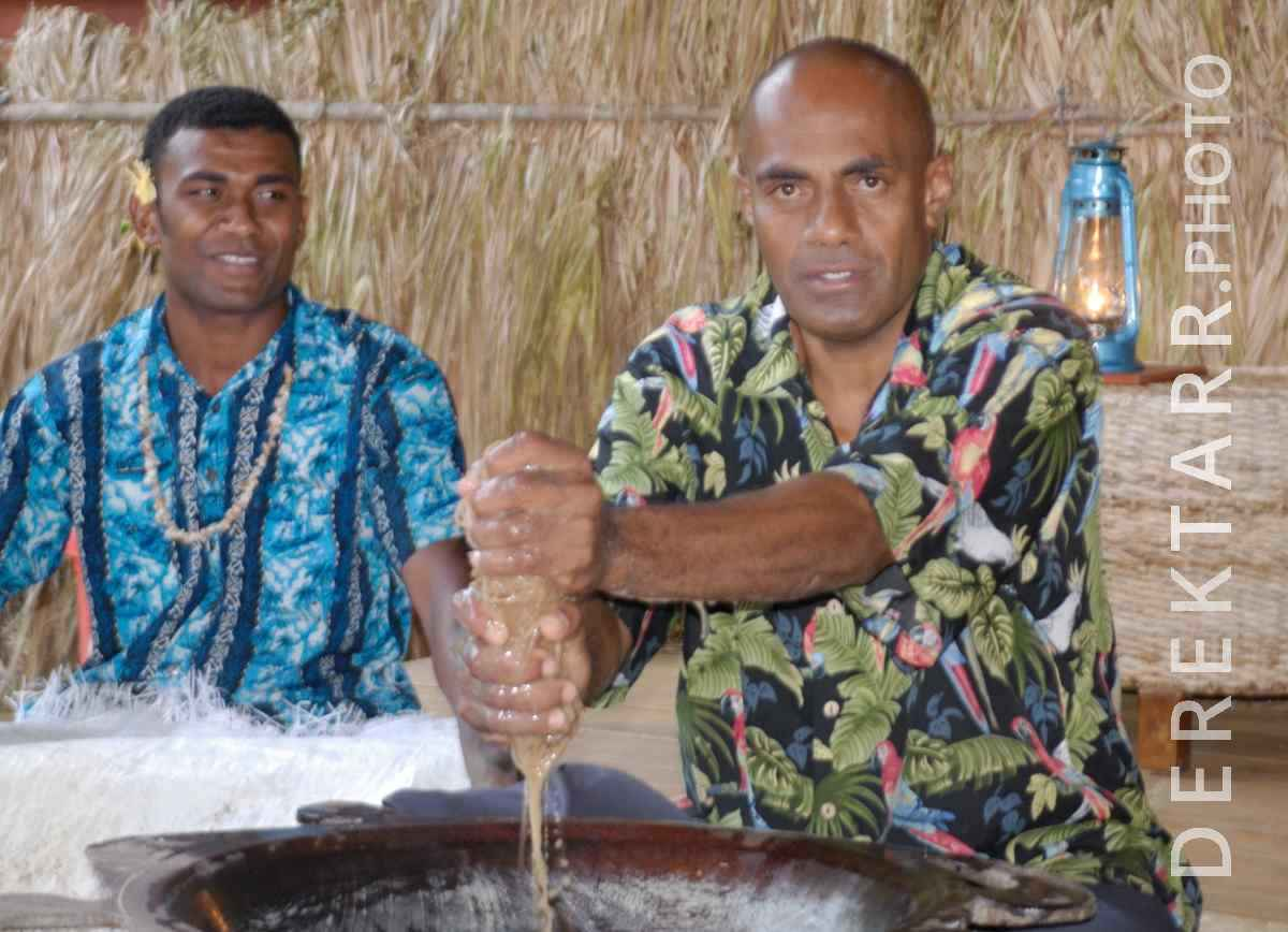 large view of Fijian Men Preparing Kava for Lovo Ceremony at Matava Resort