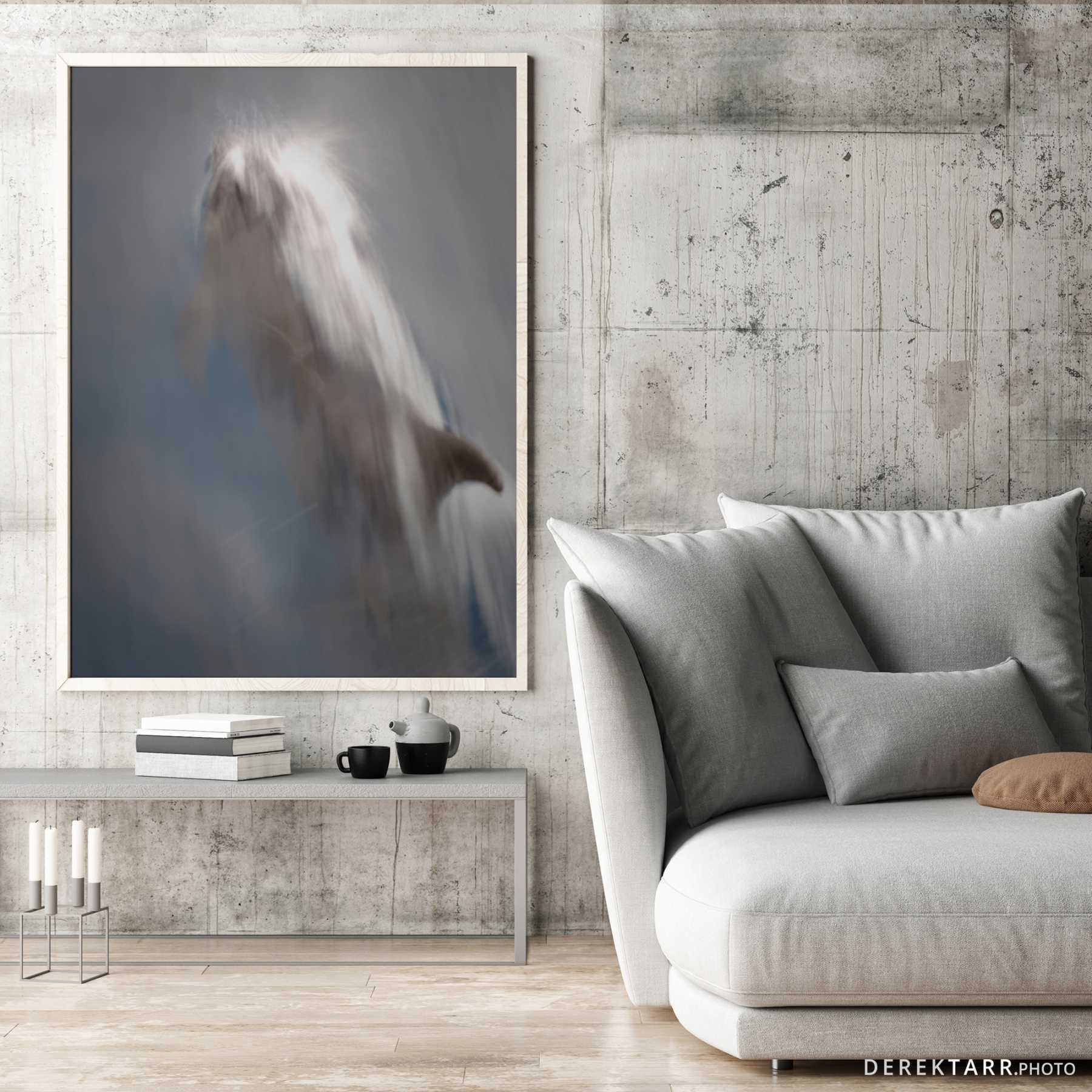 Modern living room with Dolphin in Motion on the wall