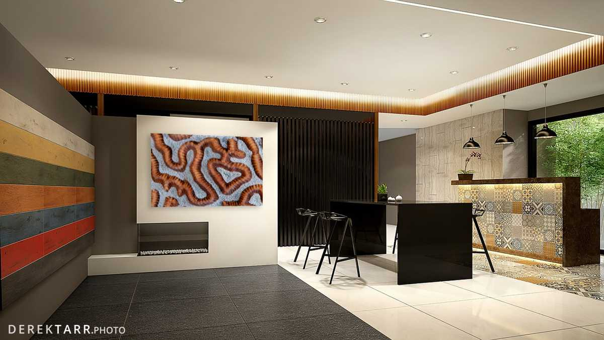 "Fine art print of ""Heart in Coral"" shown in a modern home bar"