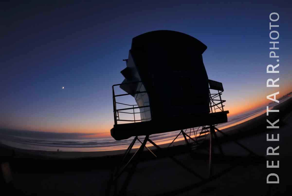 large view of Lifeguard Tower at Sunset