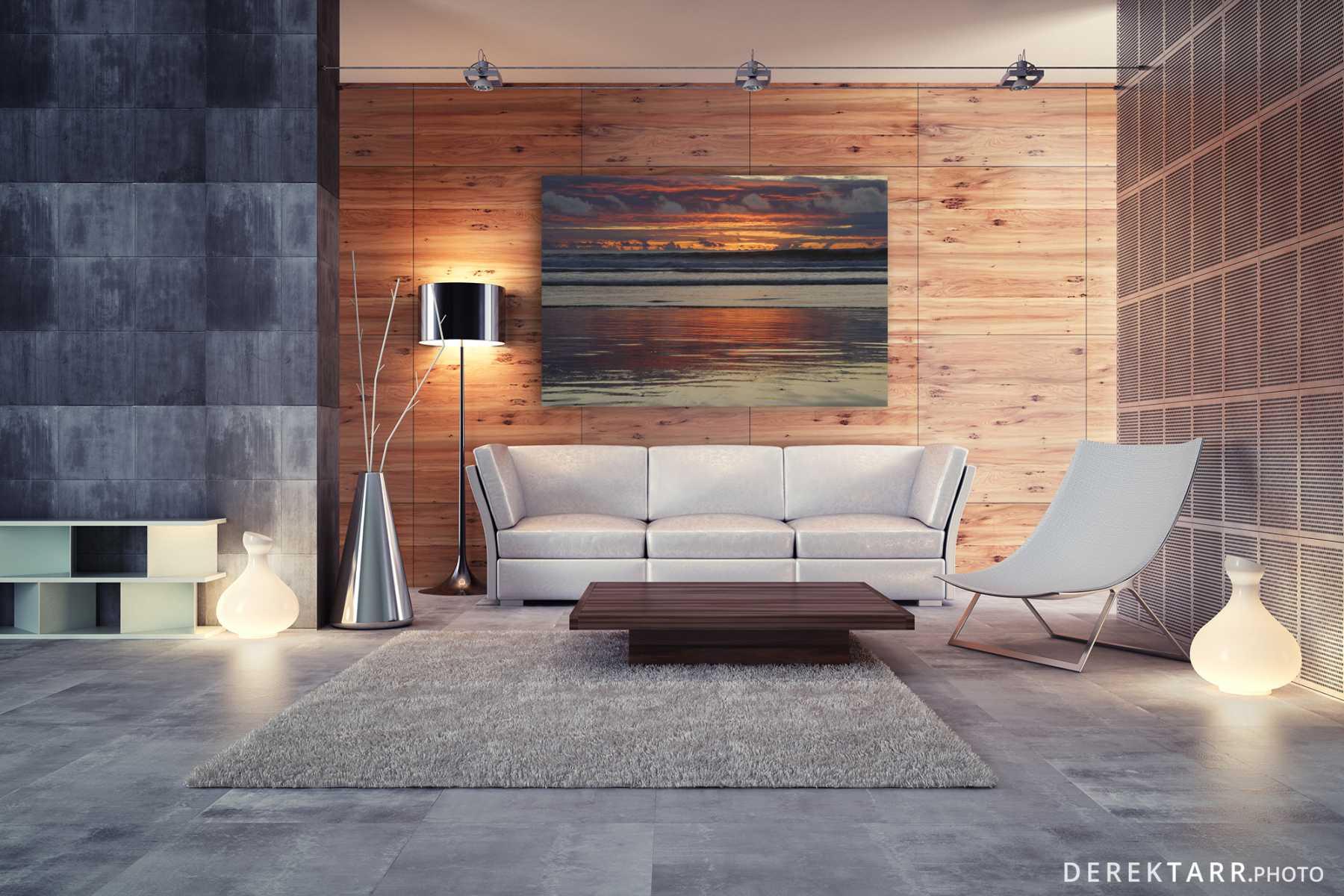 Modern minimalist living room with Beach Sunset photo on wall