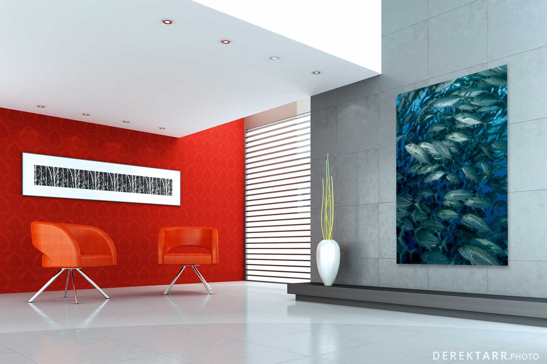Modern living room with School of Bigeye Trevally displayed on t