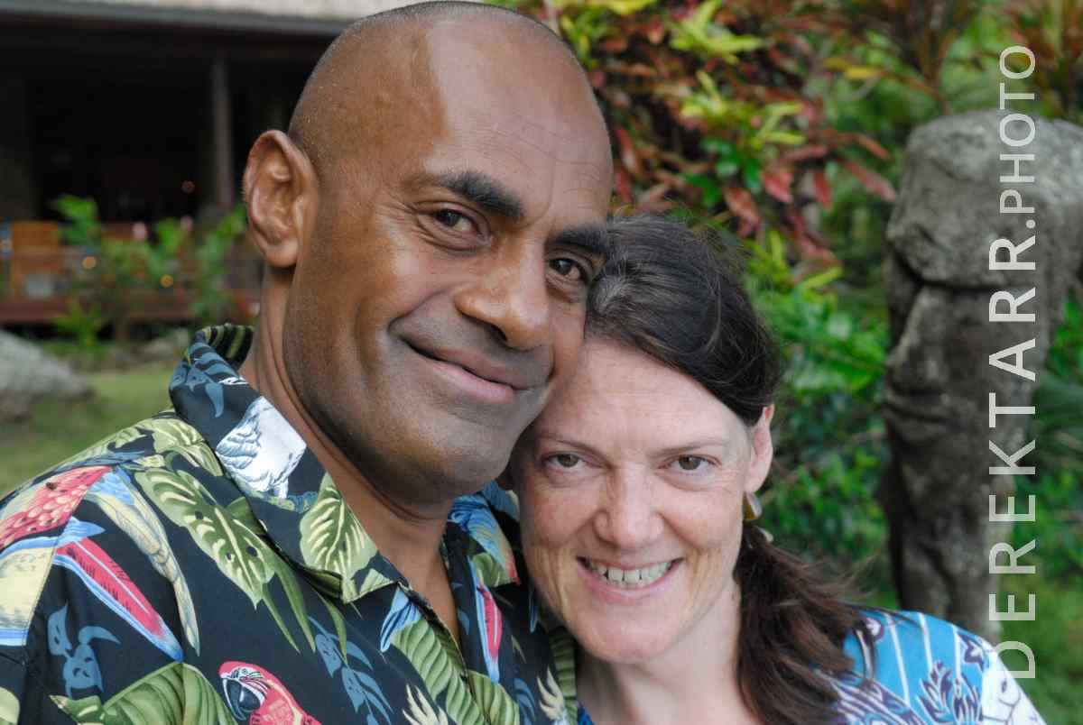 large view of Fijian Man and Woman Smiling at Matava resort